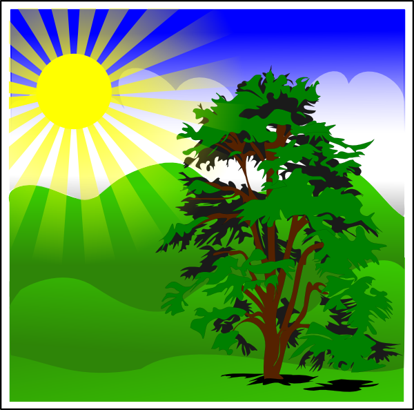 free vector Sunny Spring With Blue Sky clip art