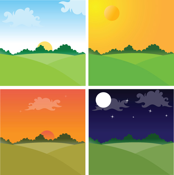free vector Sunset Theme Vector Material Sunset