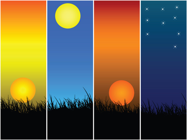 free vector Sunset theme vector