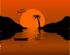 free vector Sunset Water Scene clip art