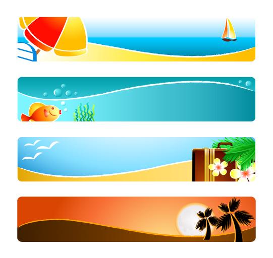 free vector Sunshine beach banner banner vector