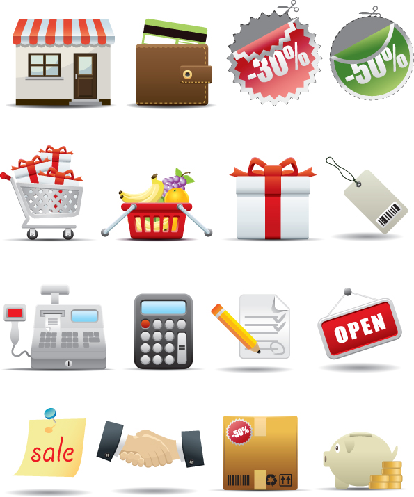 free vector Supermarket shopping icon vector