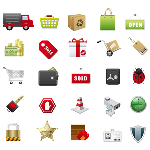 free vector Supermarket with icon vector