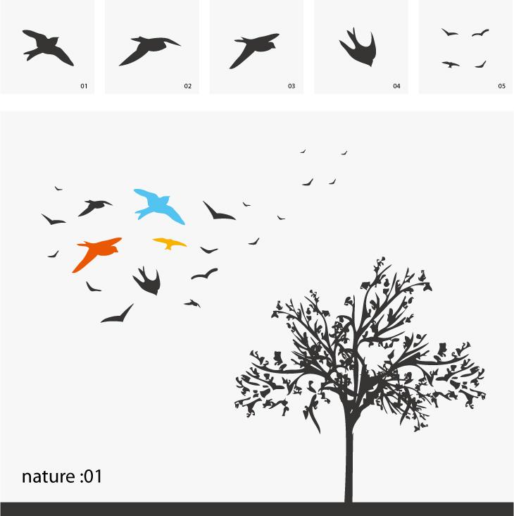 free vector Swallow trees vector hawks