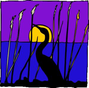 free vector Swan Sunset Lake clip art