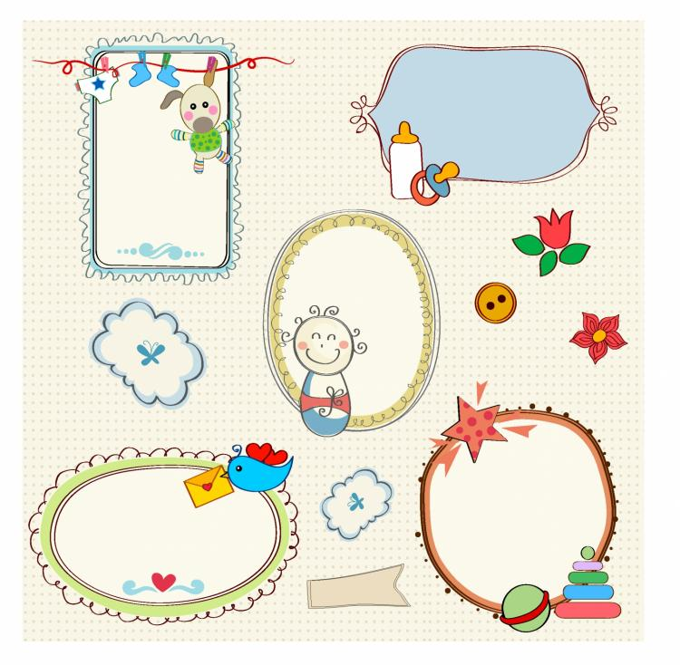 free vector Sweet baby frames