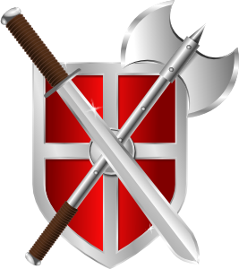 free vector Sword Battleaxe Shield clip art