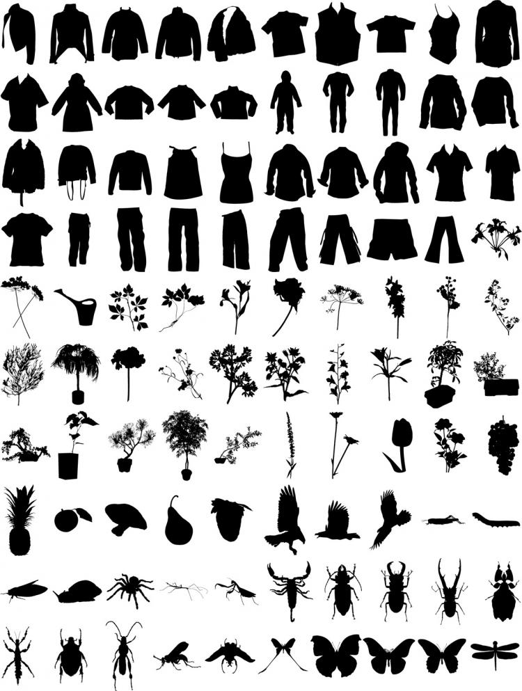 free vector T-shirt, pants, flowers, plants, insects vector material
