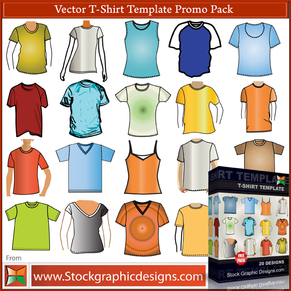 free vector T–Shirt Template Free Vector Pack
