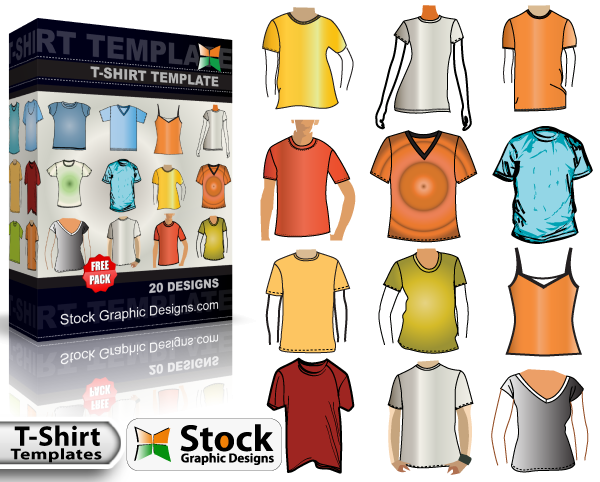 free vector T-Shirt Template Free Vector Pack