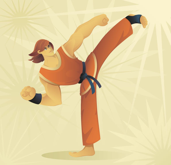 free vector Taekwondo cartoon character vector
