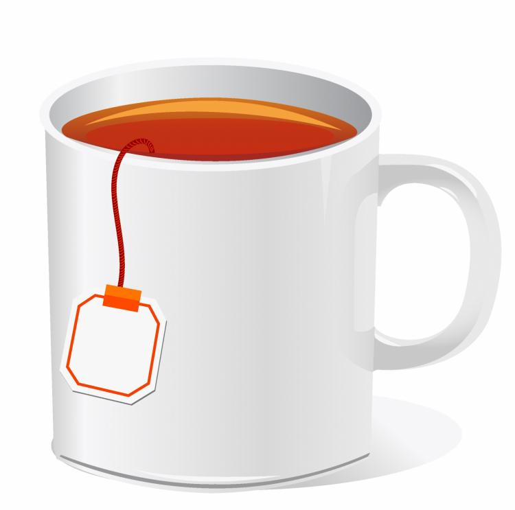 Tea cup with teabag Free Vector / 4Vector