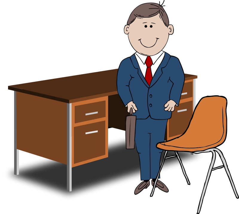 free vector Teacher / Manager between chair and desk