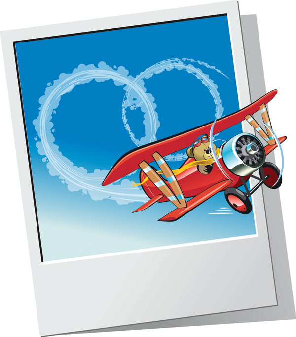free vector Teddy Bear aircraft vector