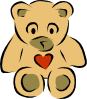 free vector Teddy Bears With Hearts clip art