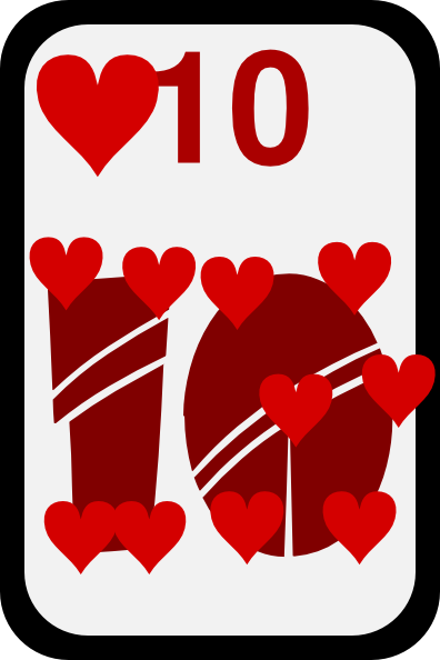 free vector Ten Of Hearts clip art