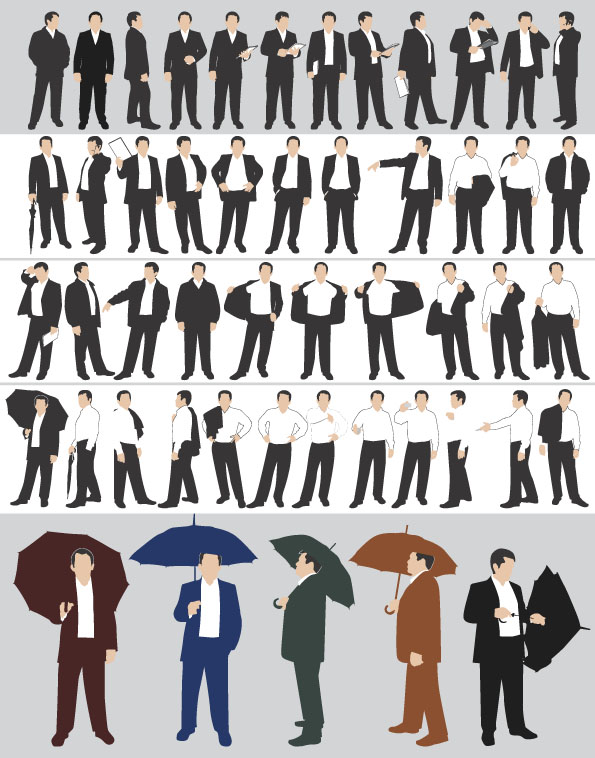 free vector The action of various business men vector material