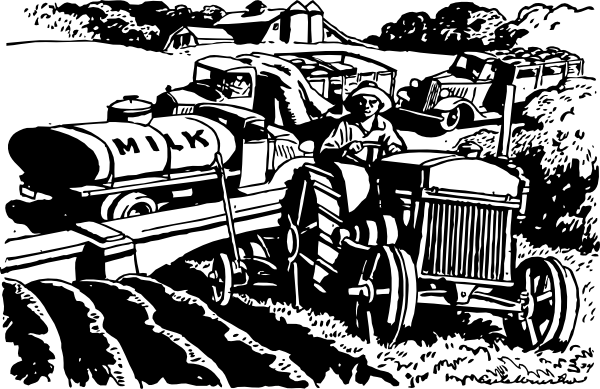 free vector The Automobile Serves The Farm clip art