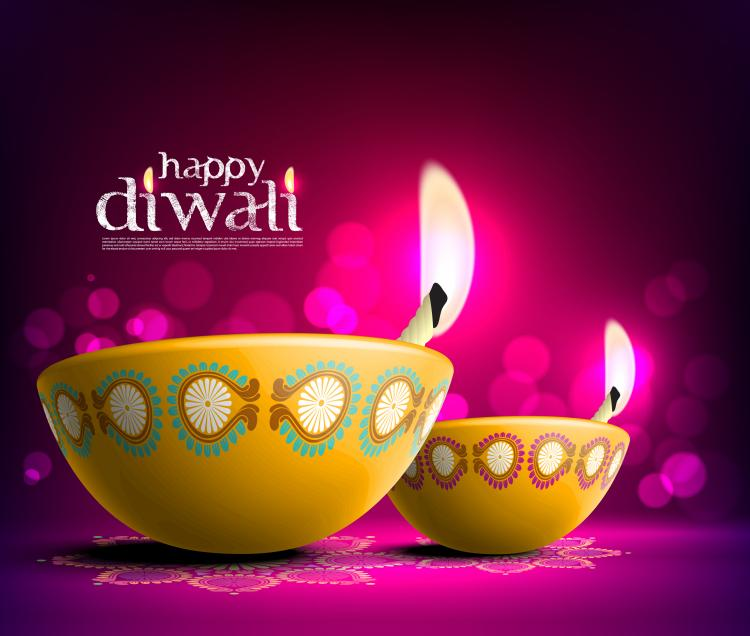 free vector The beautiful diwali card 08 vector