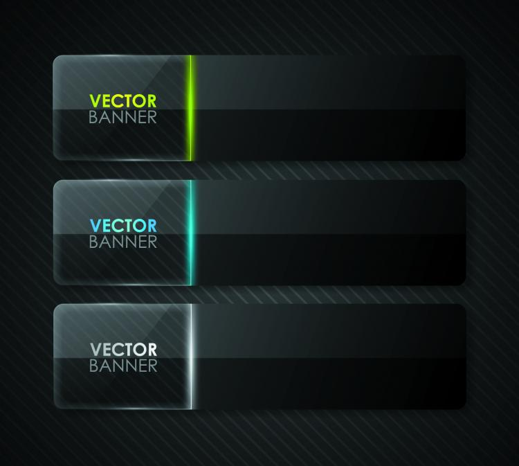 free vector The black cool banner03vector