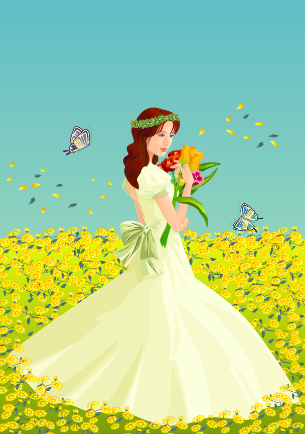 free vector The bride flowers vector