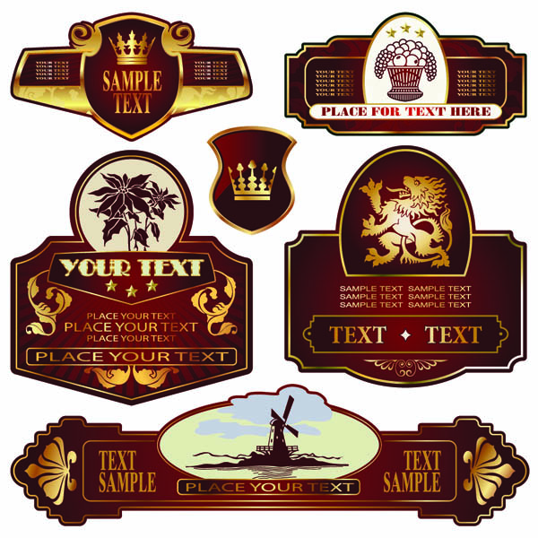 free vector The classic europeanstyle bottle label 03 vector