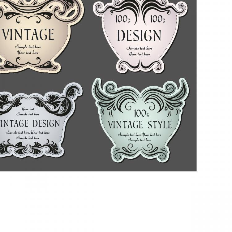 free vector The classic pattern stickers 01 vector