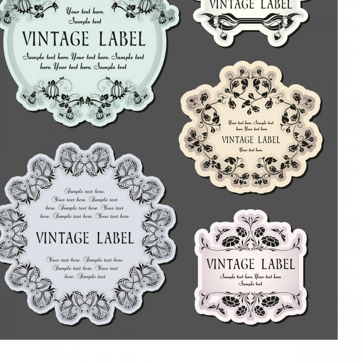 free vector The classic pattern stickers 02 vector