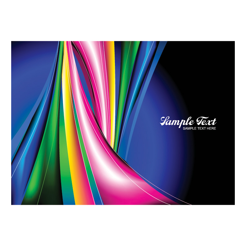 free vector The dynamic lines of the rainbow vector background