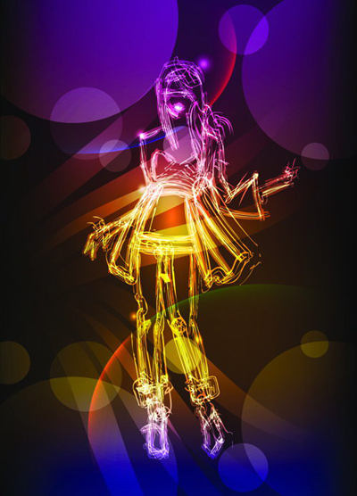 free vector The effect of light graffiti painted women vector