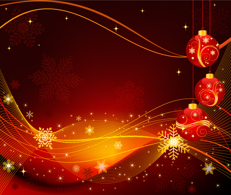 free vector The exquisite christmas ball background 02 vector