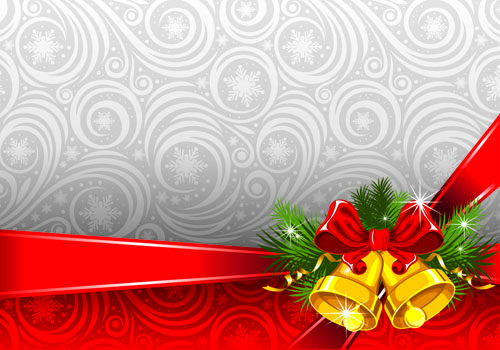 The exquisite christmas bells background vector free