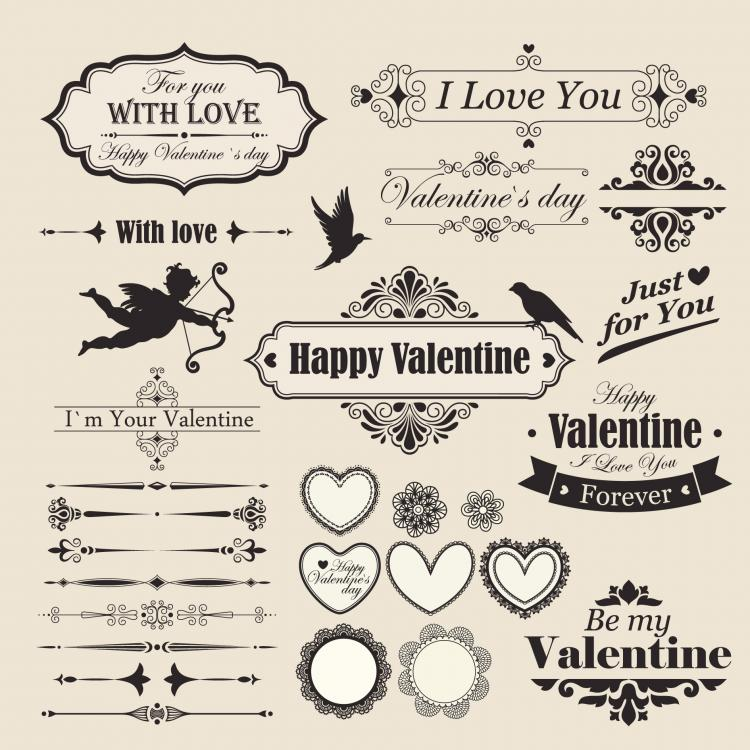 free vector The lace valentine39s day elements vector