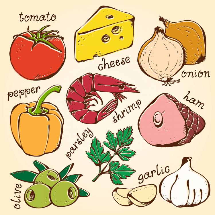 free vector The line draft vegetables 01 vector