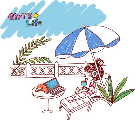 free vector The lives of girls eps girl life 6 vector