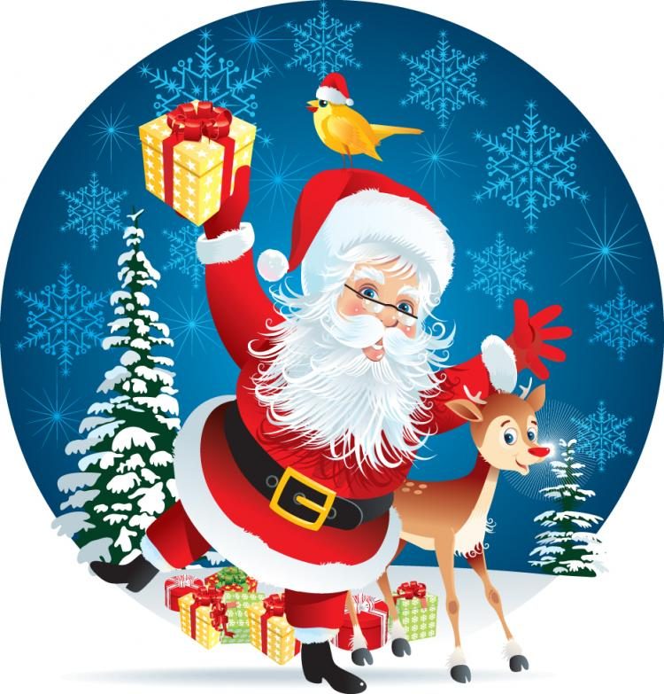 free vector The lovely santa illustrator 01 vector