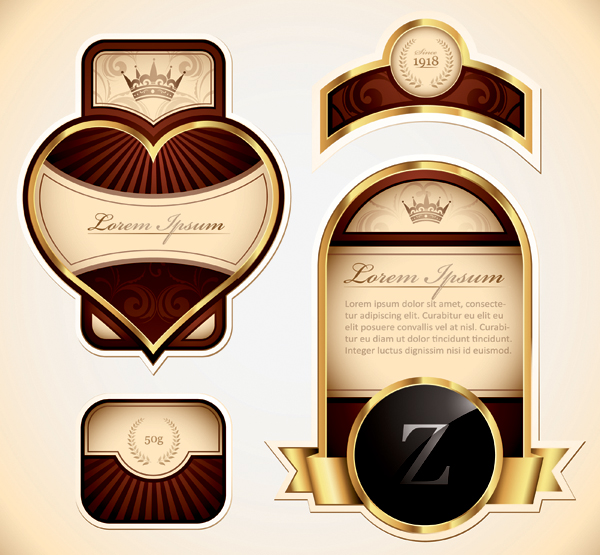 free vector The shape of the gold label multiple vector