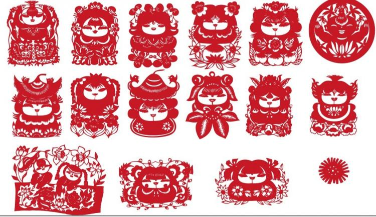 free vector The traditional chinese papercut fuwa vector
