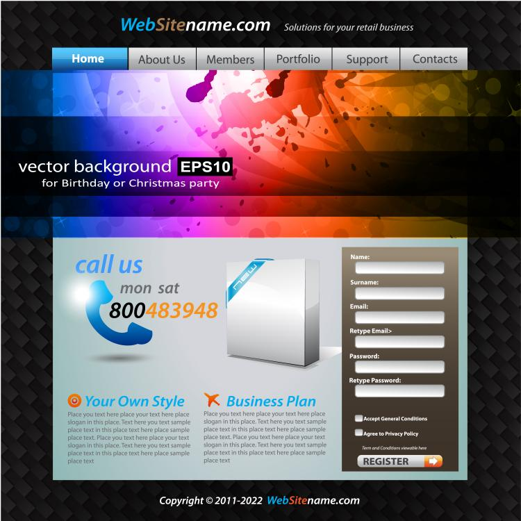 free vector The trend of dynamic website templates 02 vector