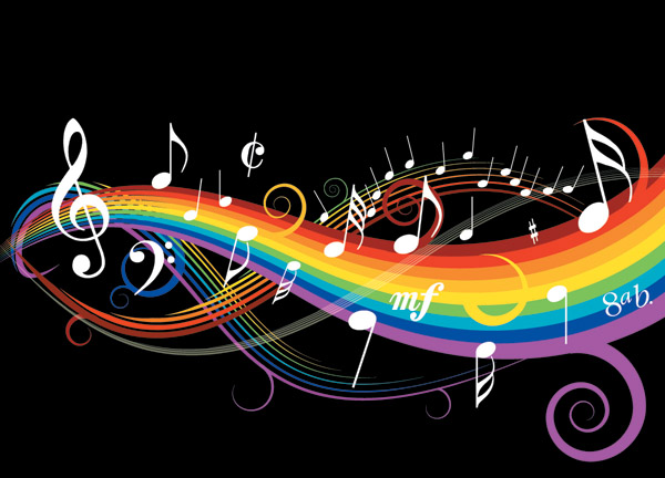 free vector Theme music notes vector 1