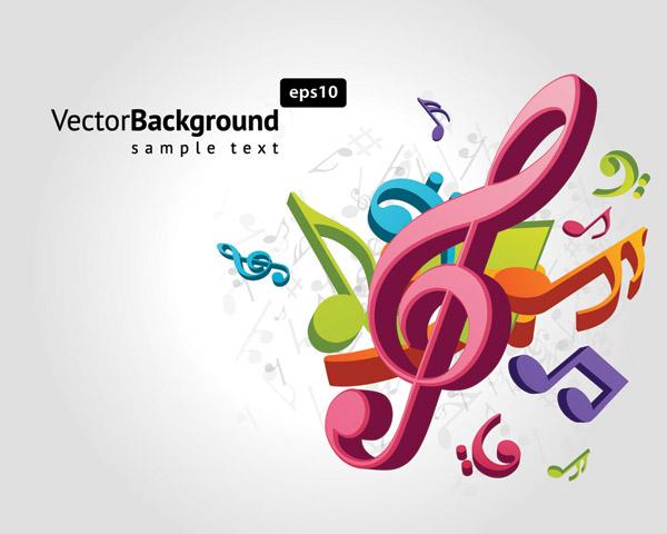 free vector Theme music notes vector 2