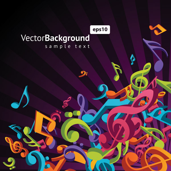 free vector Theme music notes vector 3