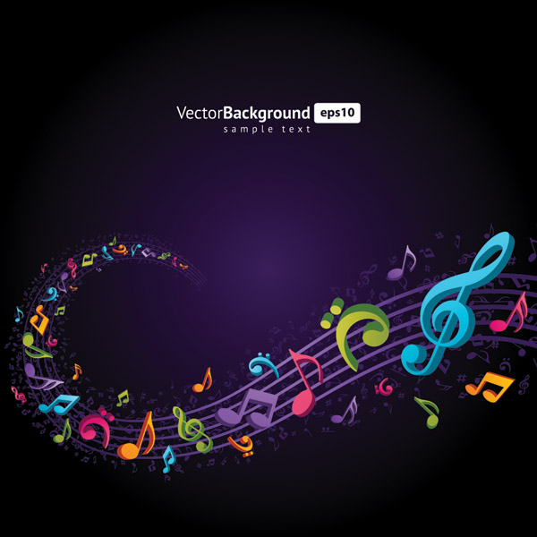 free vector Theme music notes vector 4