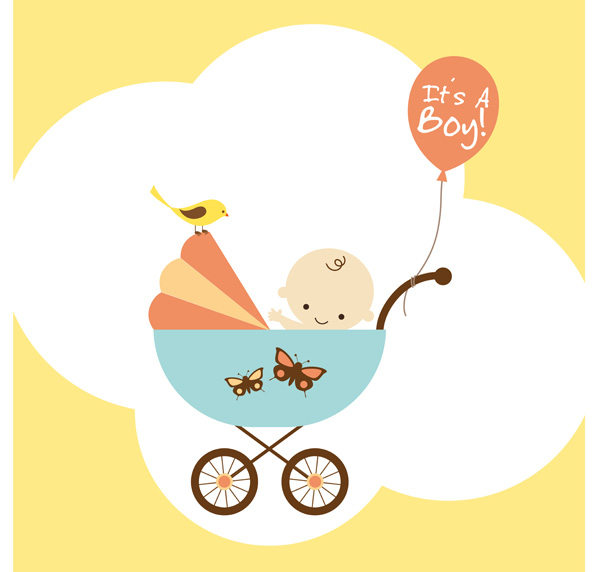 free vector Theme of vector cute baby items