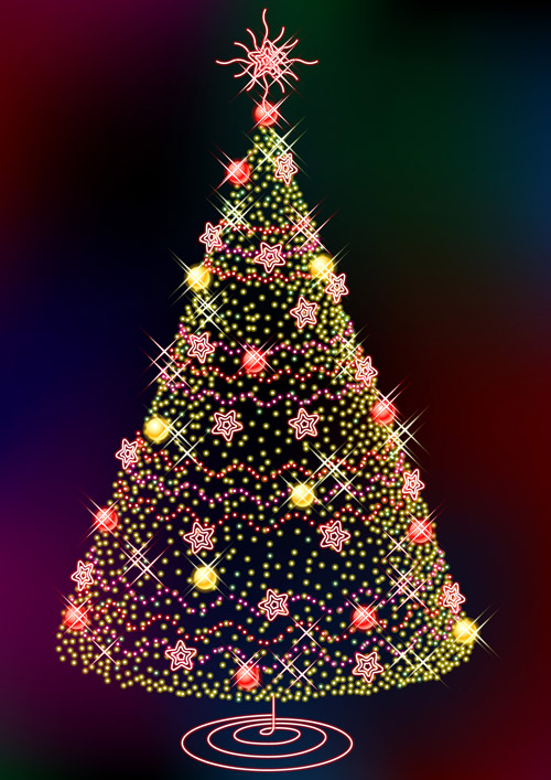 free vector Three glittering christmas tree vector