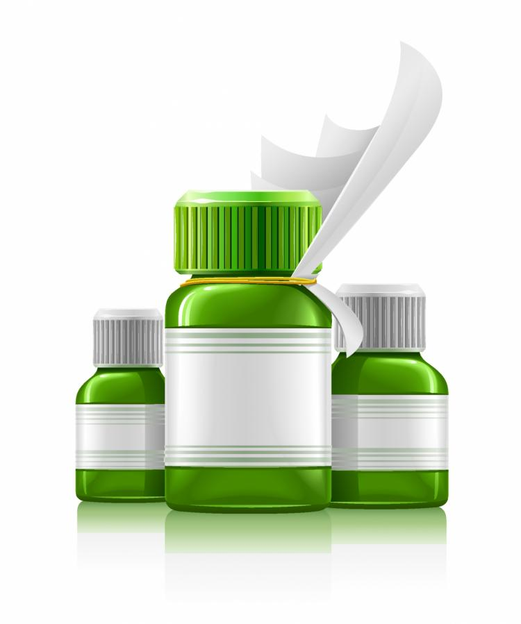 free vector Three green medical bottles with medication