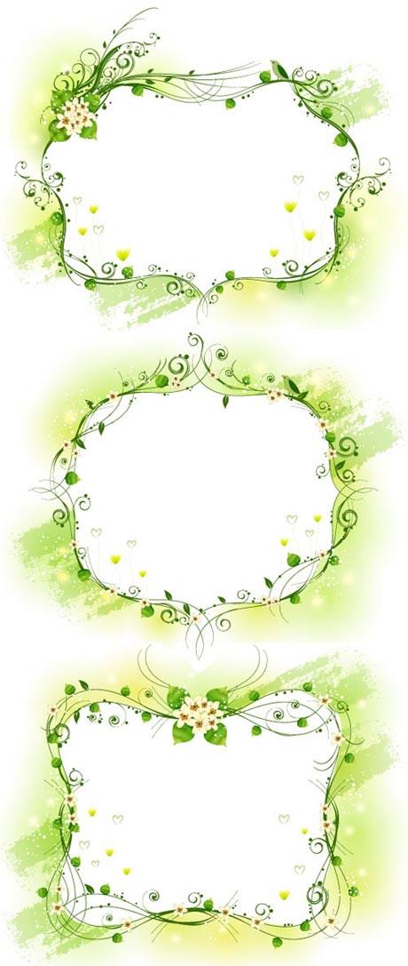 free vector Three kinds of elegant yellowgreen decorative box vector