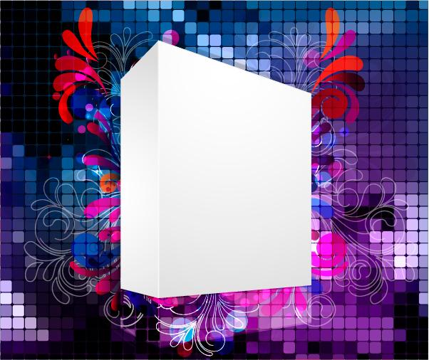 free vector Threedimensional box flower background 2 vector