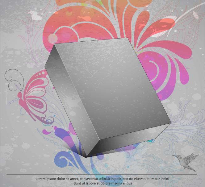 free vector Threedimensional box flower background 3 vector