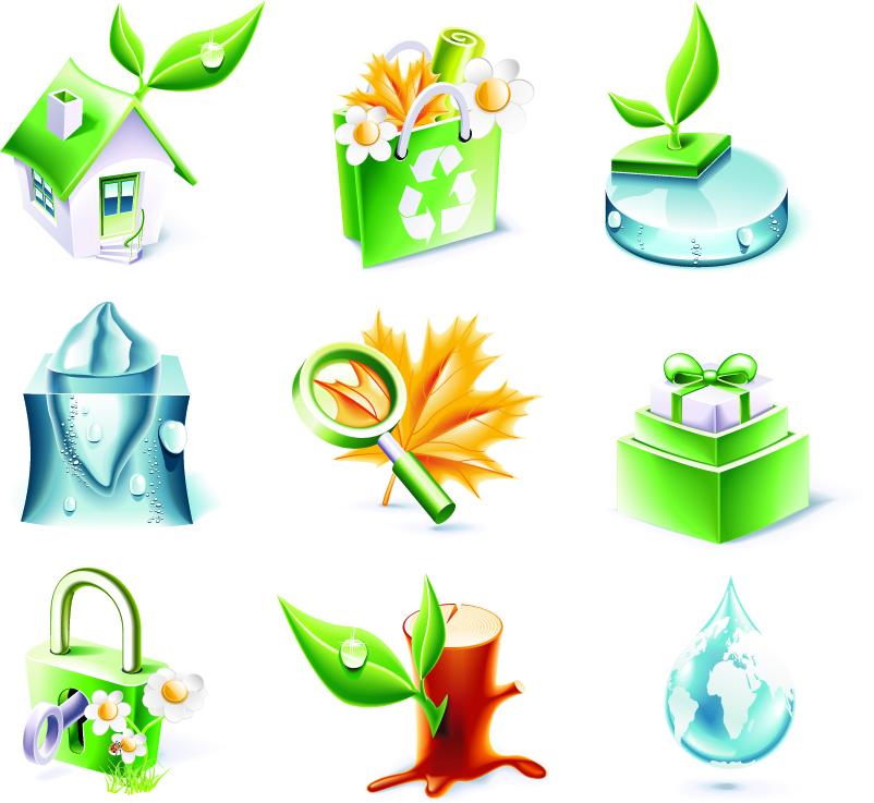 free vector Threedimensional icon vector environmental topics